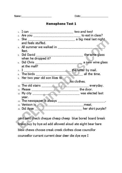 english worksheets homophones test