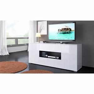 Meuble Tele Haut : star meuble tv haut contemporain blanc brillant et gris anthracite l 160 cm achat vente ~ Teatrodelosmanantiales.com Idées de Décoration