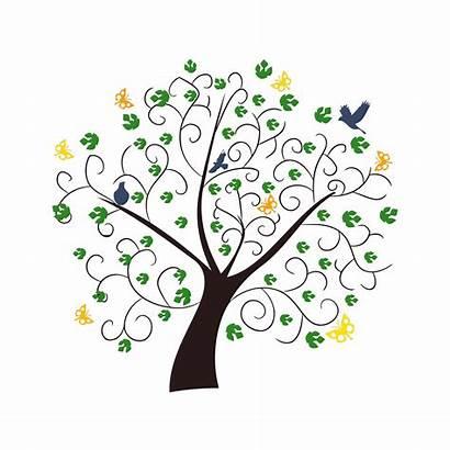 Tree Clipart Illustration Summer Domain Butterflies Birds
