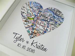 Wedding gifts personalized map art heart map framed print any for Personalized gifts for wedding