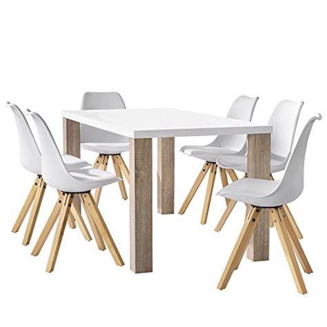 kche mit esstisch en casa esstisch eiche weiß mit 6 stühlen weiß gepolstert 160x85cm esszimmer essgruppe küche