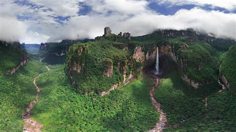 clouds landscapes nature forests cliffs venezuela