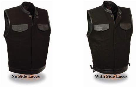Extreme Denim & Leather Trimmed Motorcycle Club Vest Gun