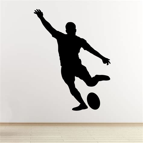 rugby player wall sticker kicking player outline silhouette vinyl decal ebay