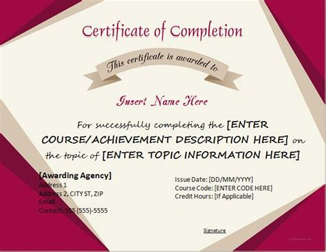 certificate of completion template word certificates of completion templates for microsoft word microsoft word excel templates