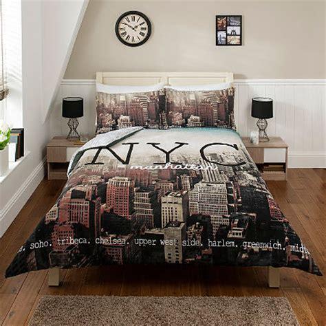 new york city nyc manhattan skyline duvet cover set single double king size