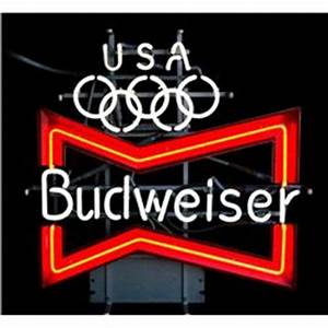 """Neon Beer sign """"Budweiser"""" for the 1984 Olympics in"""