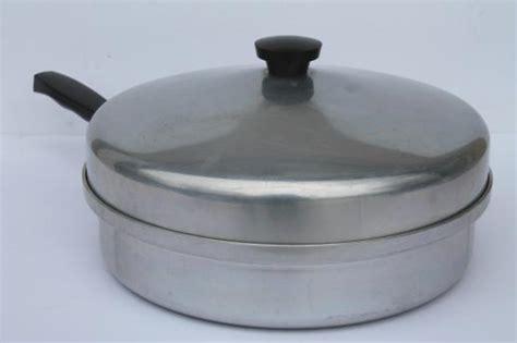 vintage montgomery ward waterless cookware  qt skillet chicken fryer frying pan  lid