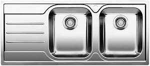 Evier Inox Brossé : evier inox 2 bacs avec gouttoir semi affleurant blanco ~ Premium-room.com Idées de Décoration