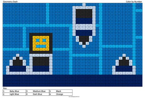 geometry dash color  number coloring squared