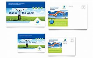 Brochure Word Template Free Green Living Recycling Postcard Template Design