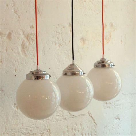 ancienne le suspension globe abat jour boule en verre opaline blanche diam 232 tre 20 cm