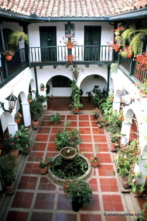 story courtyard  spanish tiles  archways