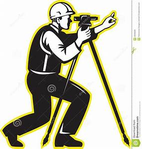 Surveyor Engineer Theodolite Total Station Stock