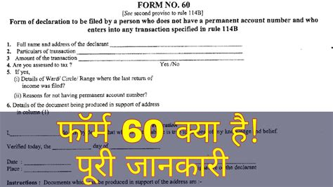 Form 60. Full Information. Pan Card Alternative . Income