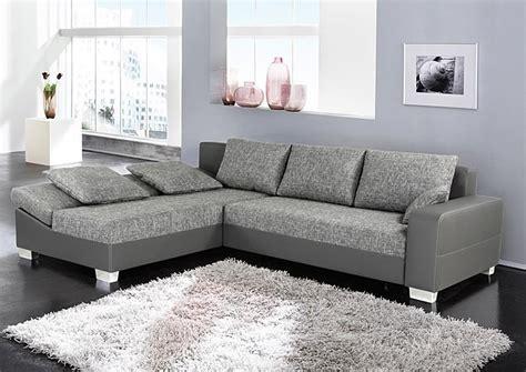 Sofa, Couch Isola 285x209cm, Webstoff Hellgrau Kunstleder