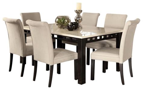 dining room set with bench gateway 7 dining room set with parsons chairs white transitional dining sets by