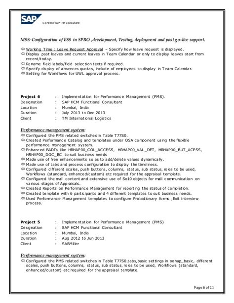 Sap Hr Time Management Resume by Rizwan Sap Hr Resume 7 5 Years