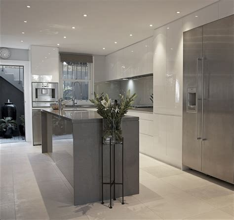 white and gray kitchen grey and white kitchen design ideas trendy kitchen interiors Modern