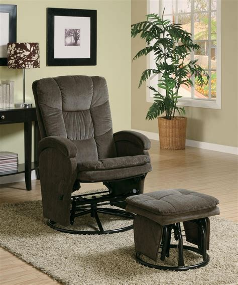 Chocolate Glider And Ottoman by Chocolate Deluxe Glider Rocker Recliner Ottoman 600159