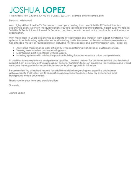 Cover Letter For Network Technician by Best Satellite Tv Technician Installer Cover Letter