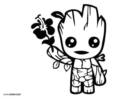 cute baby groot coloring pages from guardians of the