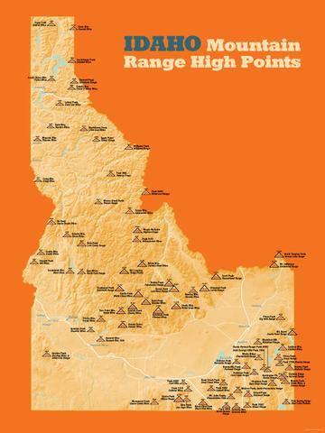 idaho mountain range high points list  maps