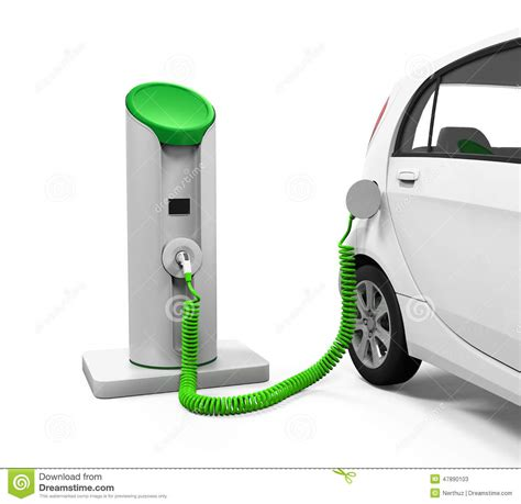 electric vehicles charging stations electric car in charging station stock illustration