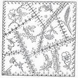 Quilt Crazy Patterns Block Embroidery Pattern Hand Stitches Blocks Barn Quilts Designs Coloring Trail Quilting Victorian County Schoharie Pages Herbs sketch template