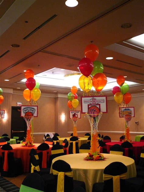 sports centerpieces for tables basketball centerpieces w balloons spring sports banquet