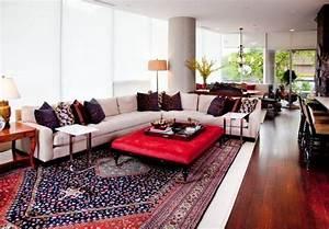 Tapis Rouge Salon : tapis persan dans le salon contemporain en 33 exemples ~ Teatrodelosmanantiales.com Idées de Décoration
