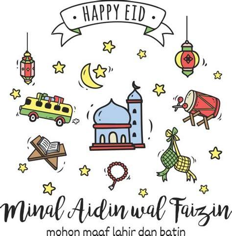 eid mubarak  idul fitri greeting card  cartoon doodle