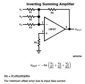 Amp Inverting Summing Amplifier Non