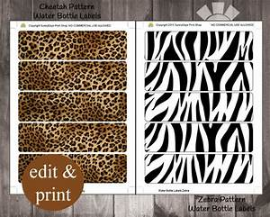 safari cheetah pattern zebra pattern water bottle labels With animal print water bottle labels