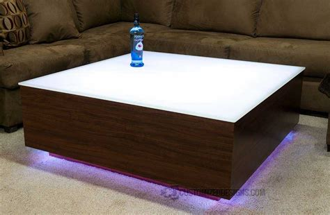 """Clear glass & wood veneer (in grey). Cubix Series - 44"""" x 44"""" LED Lighted Coffee Table 