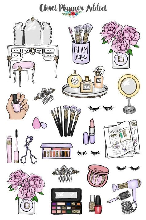 beauty babe planner stickers makeup stickers cosmetics