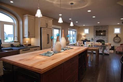 trendy open concept kitchen dining room  living room