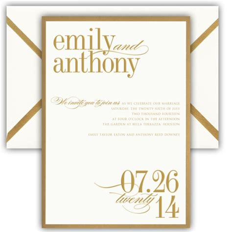 Gold Bordered Card Wedding Invitations