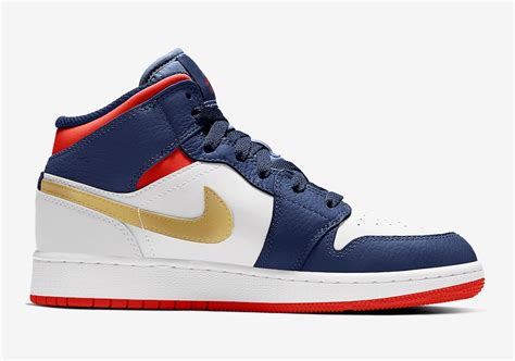 Air Jordan 1 Mid Gs Olympic Usa Bq6931 104 Release Date