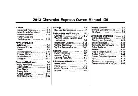 chevrolet express owners manual  give