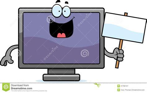 Cartoon Flat Screen Tv Sign Stock Vector