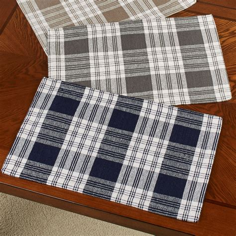 dylan woven cotton plaid table linens