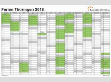 Ferien Thüringen 2018 Ferienkalender zum Ausdrucken