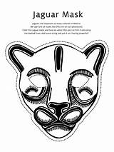 Mask Jaguar Coloring Animal Masks Printable Templates Craft Mayan Template Animals Cheetah Crafts Mardi Gras Coloringsky Kid Scout Junior sketch template