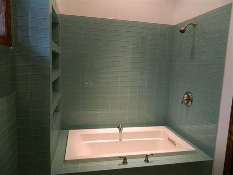 green glass tile shower contemporary bathroom