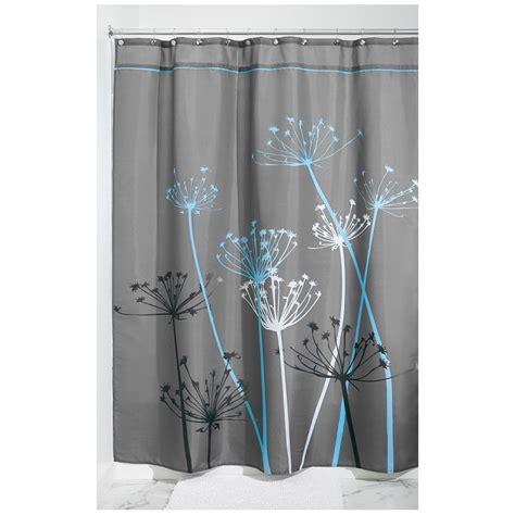 rideau de douche fleurs interdesign gris et bleu ac deco