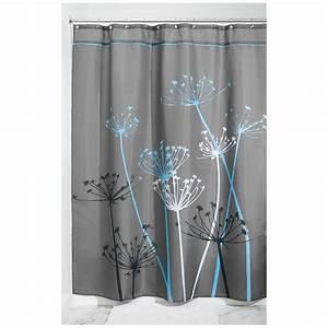 Rideau Gris Et Blanc : rideau de douche fleurs interdesign gris et bleu ac deco ~ Dailycaller-alerts.com Idées de Décoration