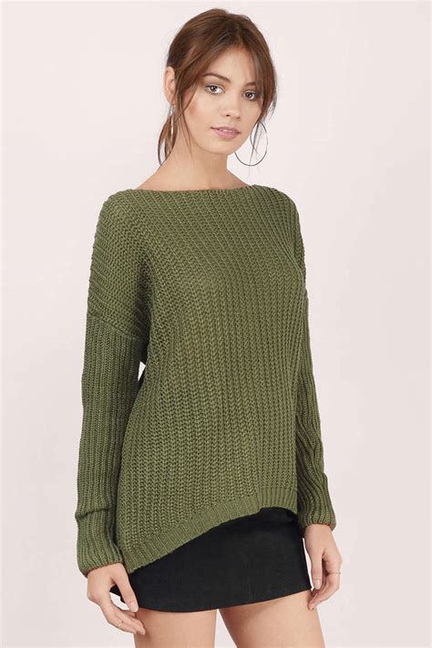 high low sweater cheap olive sweater green sweater knitted sweater 11 00