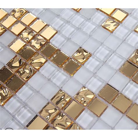 gold and mirrored glass mosaic tile murals frosted