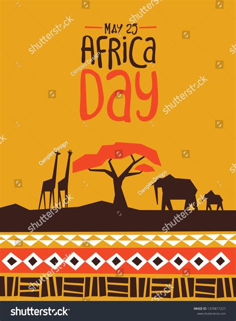 africa day greeting card illustration  traditional
